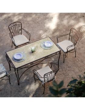 Estructura mesa de forja modelo Sevilla con tapa de mosaico cerámico
