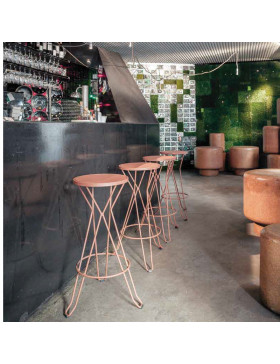 Taburete modelo de acero galvanizado Madrid para hosteleria, contract, horeca, restarurante, bar, cafeteria, terraza y jardin